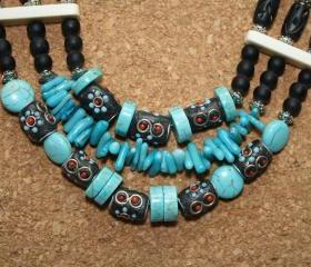 Southwestern Turquoise and Bone Necklace
