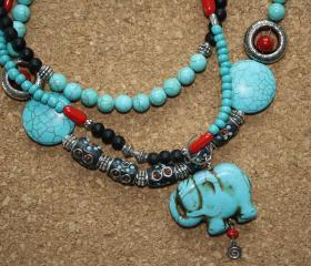 Bohemian Necklace with Coral and Turquoise