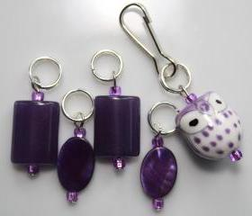 Purple Owl Stitch Markers