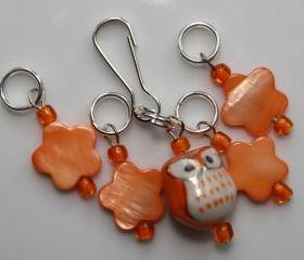 Orange Owl Stitch Markers